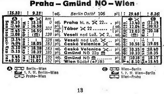 Jízdní řád Praha-Wien (1966); sbírka R.Jakl – ZOBRAZ!