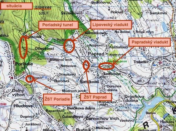 Zaujímavosti okolo ŽST Paprad. Mapa VKÚ Harmanec
