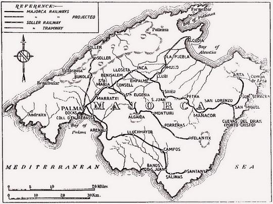 Železniční síť na Mallorce v roce 1936 - zdroj: freespace.virgin.net - ZOBRAZ!