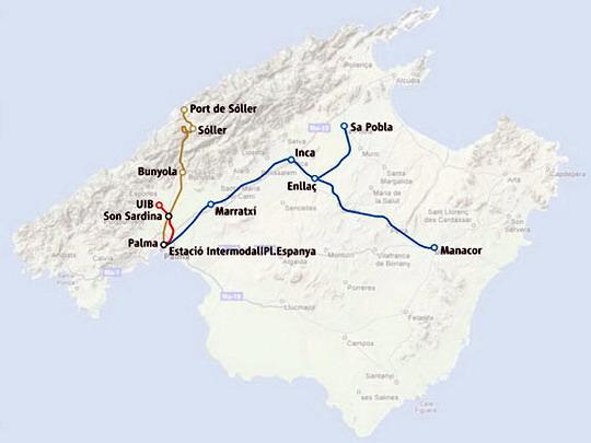 Schéma současné kolejové dopravy na Mallorce (červeně trať metra), zdroj: trenscat.cat