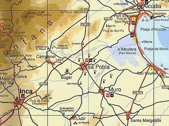 Město Sa Pobla s vyznačeným výskytem větrníků na mapě ostrova, zdroj: Portal web de l'ajuntament de Sóller