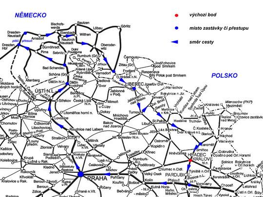 Trasa cesty na mapě tratí SŽDC a DB Netz - ZOBRAZ!