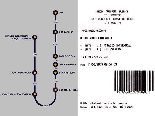 Oficiální schéma trati metra s jízdními dobami a zpáteční jízdenka mezi koncovými stanicemi