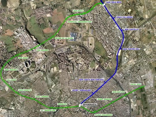 Návrh trasy 2. linky palmského metra - zdroj: www.mallorcadiario.com - ZOBRAZ!