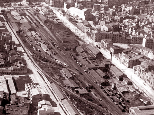 Nádraží FCM Palma v roce 1950, zdroj: www.mallorcatren.com
