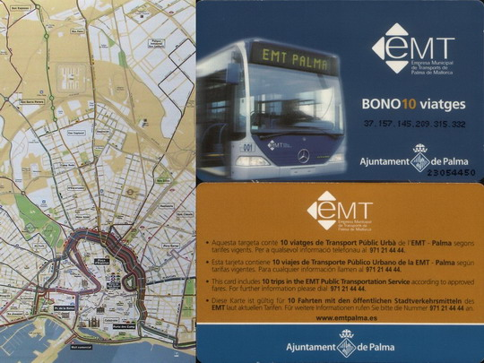 Líc a rub přenosné jízdenky na 10 jízd v síti EMT na pozadí mapy linek - ZOBRAZ!