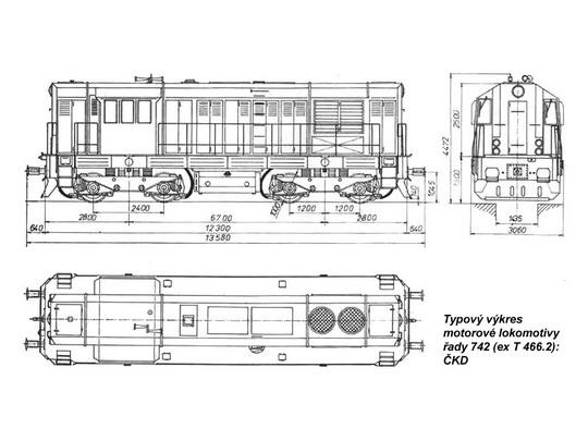 Typový výkres motorové lokomotivy řady 742 © ČKD - ZOBRAZ!