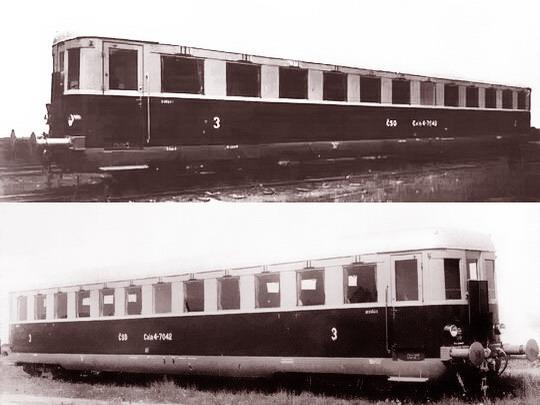 Calm 4-7042 jako první zástupce vozů z let 1949 - 1950 na továrních snímcích