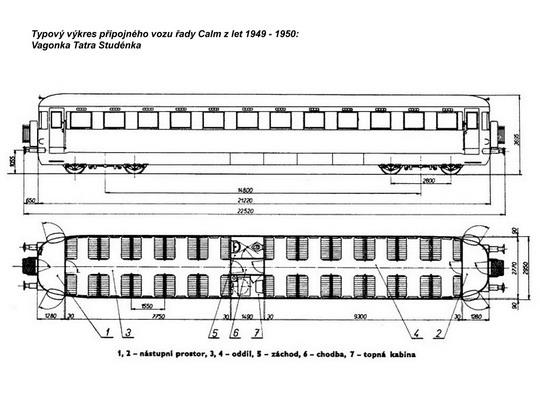 Typový výkres přípojného vozu řady Calm z let 1949 - 1950 © J.Frolík - ZOBRAZ!