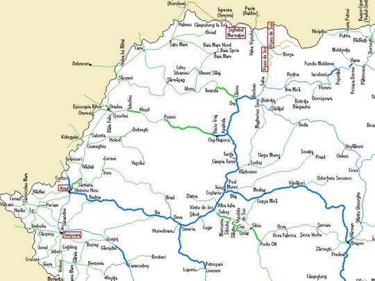 Významné body našeho putování na mapě sítě CFR z www.bueker.net - ZOBRAZ