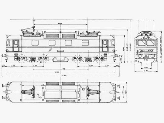 Typový výkres lokomotivy řady 130 © ŠKODA Plzeň - ZOBRAZ!