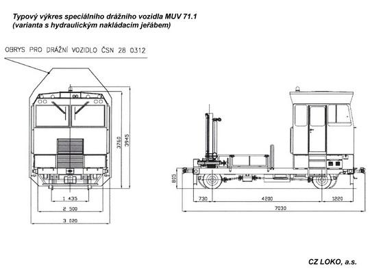 Typový výkres MUV 71.1 s hydraulickým nakládacím jeřábem © CZ LOKO, a.s. - ZOBRAZ!
