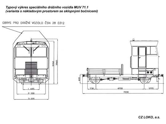 Typový výkres MUV 71.1 s korbou © CZ LOKO, a.s. - ZOBRAZ!