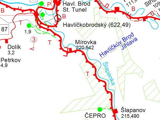 Rekonstruovaný úsek na železniční mapě; zdroj: Atlas drah České republiky - ZOBRAZ!