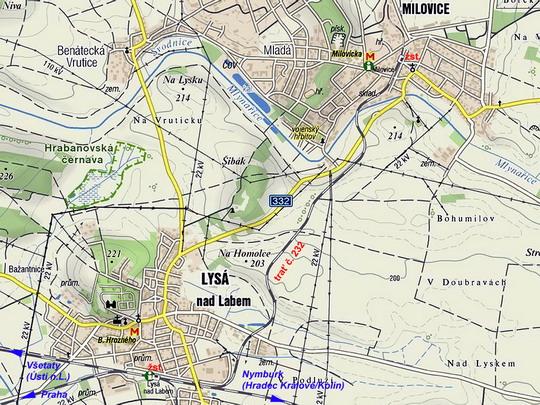 Elektrizovaná trať č. 232 na turistické mapě © www.mapy.cz - ZOBRAZ!