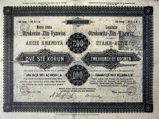 Kmenová akcie na 200 korun místní dráhy Otrokovice - Zlín - Vizovice; zdroj: Okresní archív Zlín: