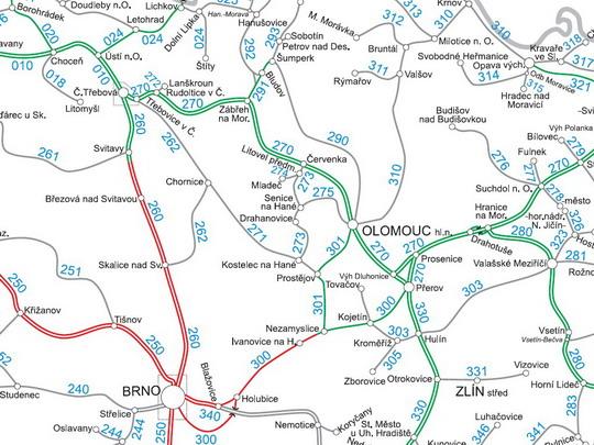 Trať č. 291 a provozem související tratě na mapě sítě SŽDC - ZOBRAZ!