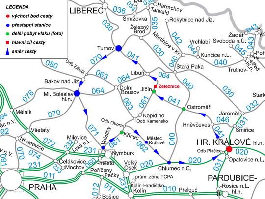 Trasa našeho putování na mapě sítě SŽDC - ZOBRAZ!