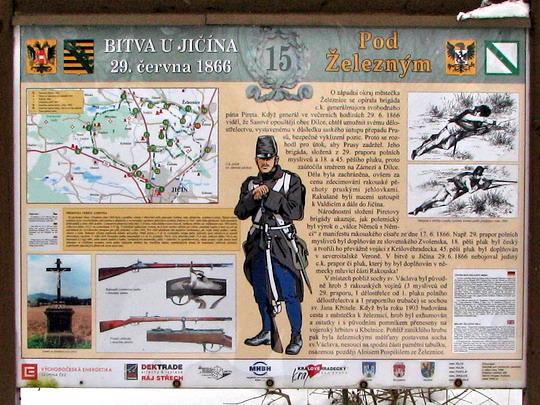Zastavení naučné stezky k bitvě u Jičína r. 1866 v Nádražní ulici © PhDr. Zbyněk Zlinský