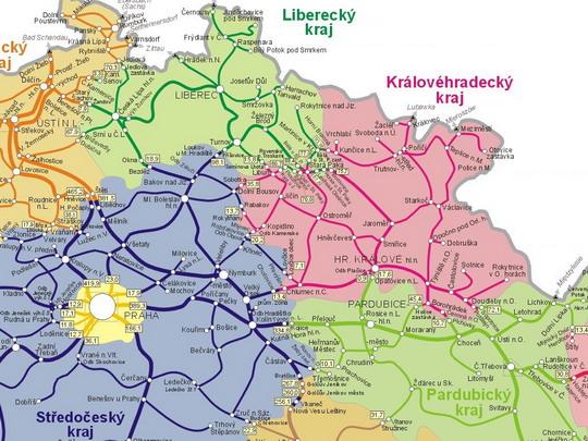 Hranice krajů, které jsme přejeli, na mapě sítě SŽDC - ZOBRAZ!