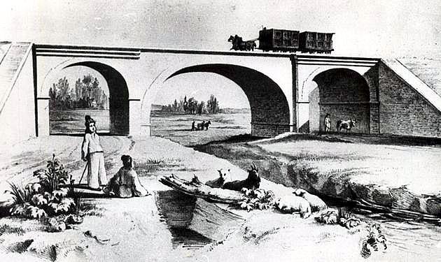 Klenutý most na konskej železnici Bratislava – Trnava (40. roky 19. stor.) © archív ŽSR MDC
