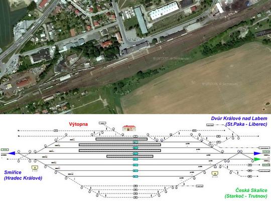 Žst. Jaroměř na fotomapě a schématickém plánu; zdroj www.mapy.cz a ČD - ZOBRAZ!