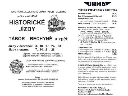 """Reprodukce plakátků s nabídkou historických jízd na """"Bechyňce"""" a veřejných parních jízd JHMD v roce 2004 - ZOBRAZ!"""