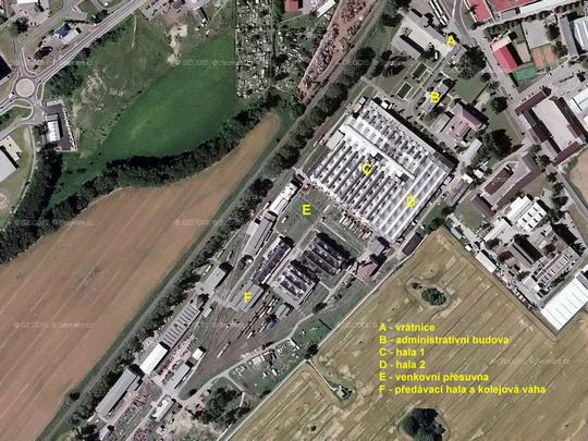 Areál a.s. Pars nova Šumperk na fotomapě; zdroj: www.mapy.cz - ZOBRAZ!