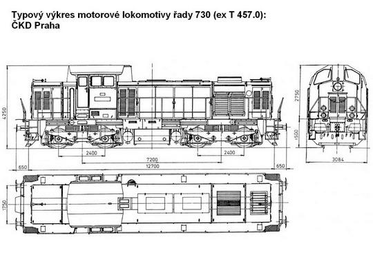 Typový výkres motorové lokomotivy řady 730 © ČKD Praha - ZOBRAZ!