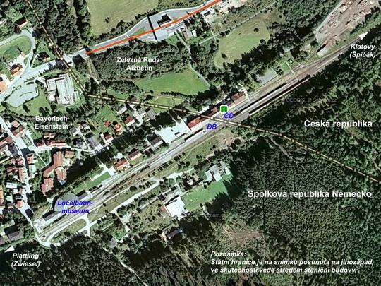 Bayerisch Eisenstein/Železná Ruda-Alžbětín na fotomapě; zdroj: ww.mapy.cz - ZOBRAZ!