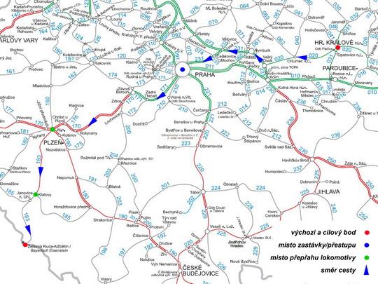 Trasa naší cesty do Železné Rudy-Alžbětína na mapě sítě SŽDC - ZOBRAZ!
