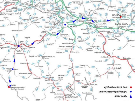 Trasa naší cesty z Železné Rudy-Alžbětína na mapě sítě SŽDC - ZOBRAZ!