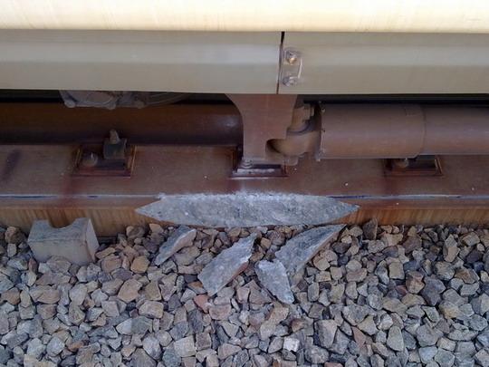 04.03.2010 - Tainan: detail poškodenia trate po vykoľajení vlaku © Arthas, www.hotmail.com