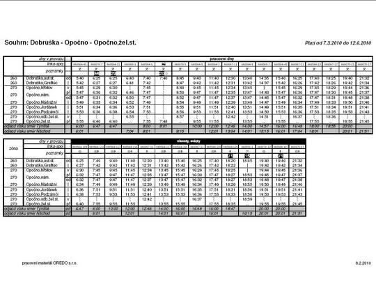 Souhrnný jízdní řád návazné autobusové dopravy z Opočna do Dobrušky - ZOBRAZ CELÝ ve formátu PDF!