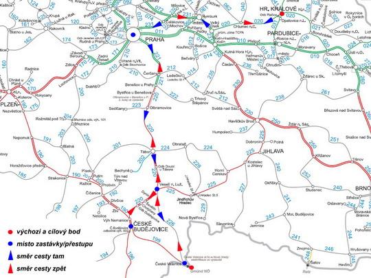 Trasa naší cesty na současné mapě sítě SŽDC - ZOBRAZ!