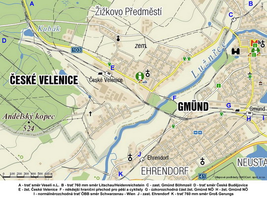 České Velenice a Gmünd na turistické mapě; zdroj www.mapy.cz - ZOBRAZ!