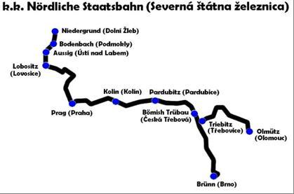 Mapa tratí Severnej štátnej železnice.