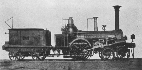 """Rušeň """"CAROLINENTHAL"""" s usporiadaním pojazdu 2´A """"Philadelphia"""" z roku 1842, výrobca Günther VNM."""