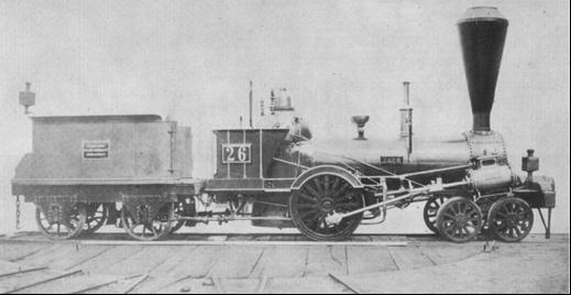 """Rušeň """"EGER"""" s usporiadaním pojazdu 2´A """"Philadelphia"""" z roku 1842, výrobca Norris Philadelphia"""