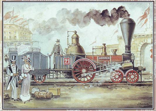 """Rušeň """"BÖHMEN"""" – """"ČECHY"""" po príchode slávnostného vlaku do Prahy dňa 20. augusta 1845."""