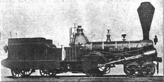 """Rušeň """"WELTRUS"""" s usporiadaním pojazdu 2´A """"Philadelphia"""" z roku 1846, výrobca Günther VNM."""