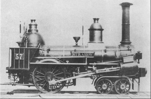 """Rušeň """"STRAHOW"""" s usporiadaním pojazdu 2´A """"Philadelphia"""" z roku 1846, výrobca Norris VNM."""