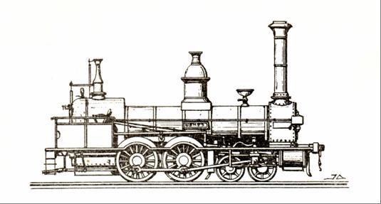 """Jeden z typických prvých nákladných rušňov NStB, stroj """"NIEMES"""" s usporiadaním pojazdu 2´B z roku 1847 (výr. Maffei)."""