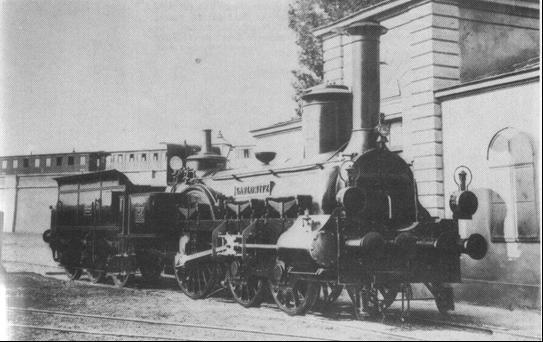 "Rušeň ""KARLOWITZ"" s usporiadaním pojazdu 2A z roku 1861"