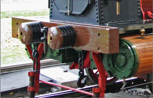 Pôvodné umiestnenie nárazníkov s úzkym rozstupom na čelníku rušňa.