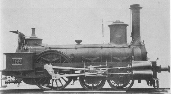 """Rušeň č. 169 """"ZINNWALD"""", neskôr """"DUPLEX"""" s usporiadaním pojazdu 2A z roku 1862, výrobca lokomotívka StEG."""