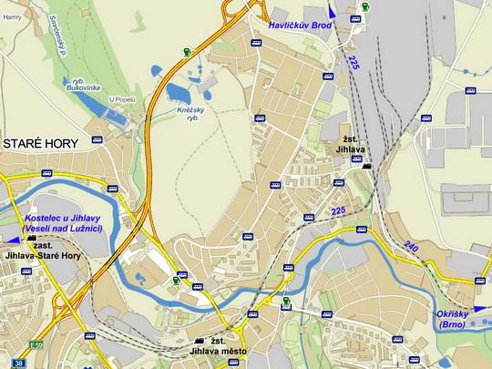 Jihlavská nádraží na mapě; zdroj www.mapy.cz - ZOBRAZ!