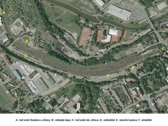Železniční stanice Jihlava město na fotomapě; zdroj: www.mapy.cz - ZOBRAZ!