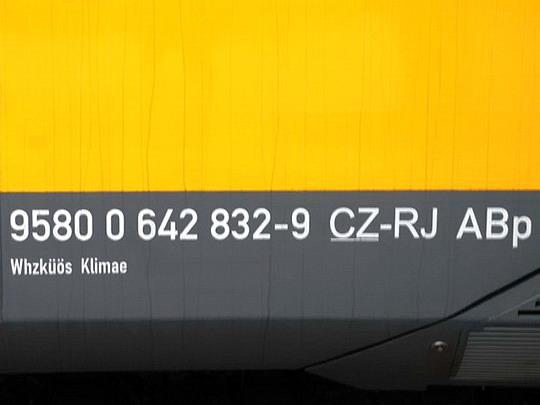 Označení zadního vozu druhého Desira v barvách RegoJet © Radek Hořínek