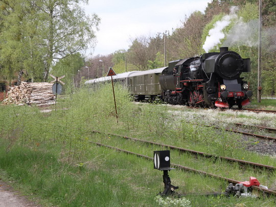 """Kolejiště stanice Łowyń s """"němkou"""" © Jan Guzik"""